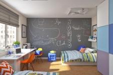 Детская комната с грифельным покрытием для двух школьников